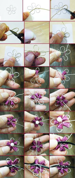 Realiza esta flor en alambrismo paso a paso