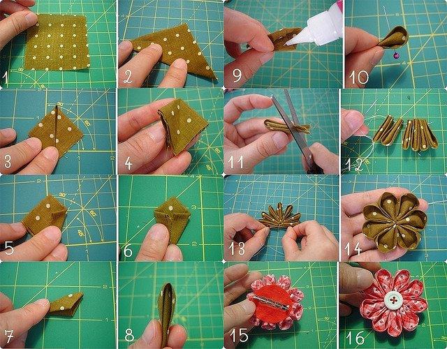 Paso a paso para hacer flores de tela bisuteria coketa - Hacer bolsos de tela paso a paso ...