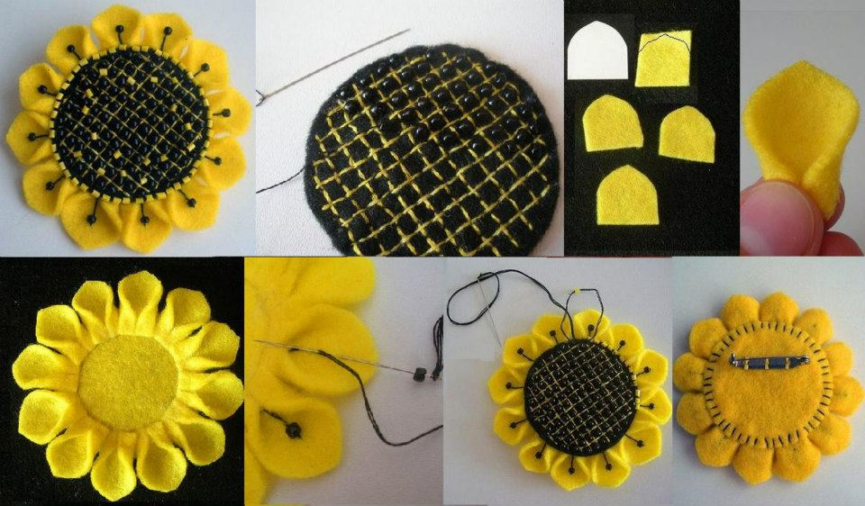Paso a paso para hacer flores de girasol con fieltro for Manualidades con tela paso a paso