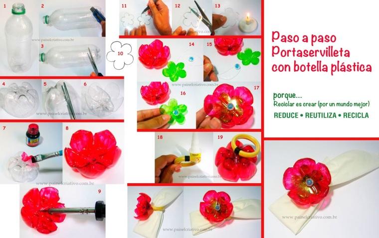 Paso a paso para hacer flores con botellas de plástico. Recicla!!