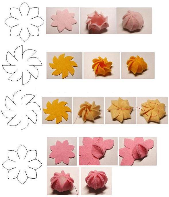 Paso a paso para hacer estas bellas flores en tela o fieltro
