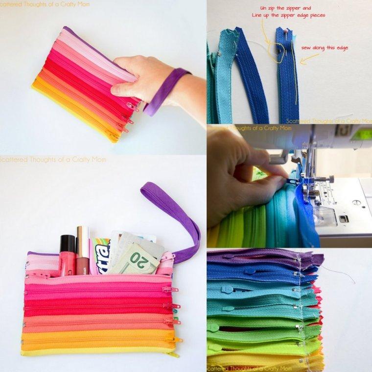 Ideas para realizar esta colorida cartuchera con cierres o cremalleras