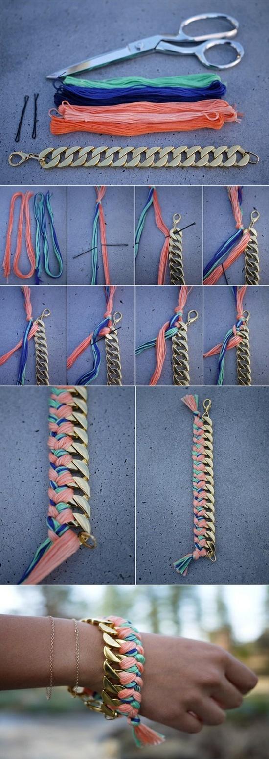 Paso a paso para hacer esta pulsera tejida con cadena.