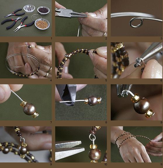 Paso a paso para realizar esta elegante pulsera con alambre de Memoria