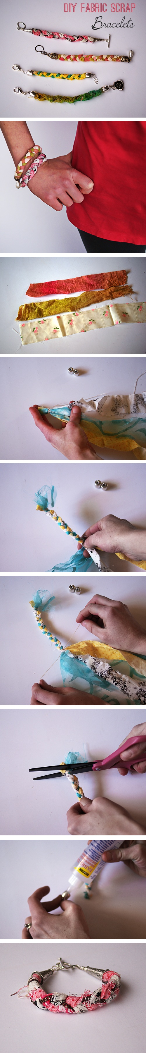 Paso a paso para hacer esta pulsera de tela tejida como trenza de cabello
