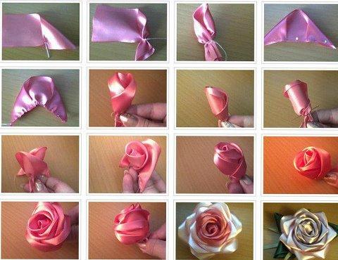 Paso a paso para hacer esta delicada rosa en tela o cinta.