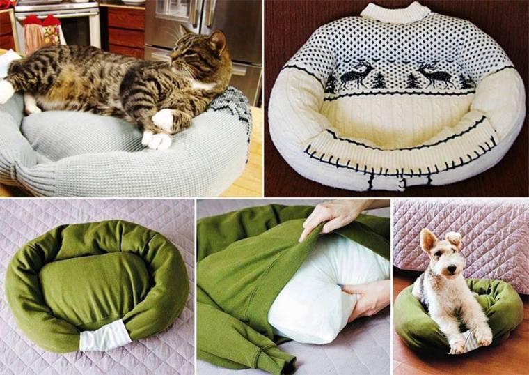 Ideas paso a paso para hacer esta cómoda cama para gatos.