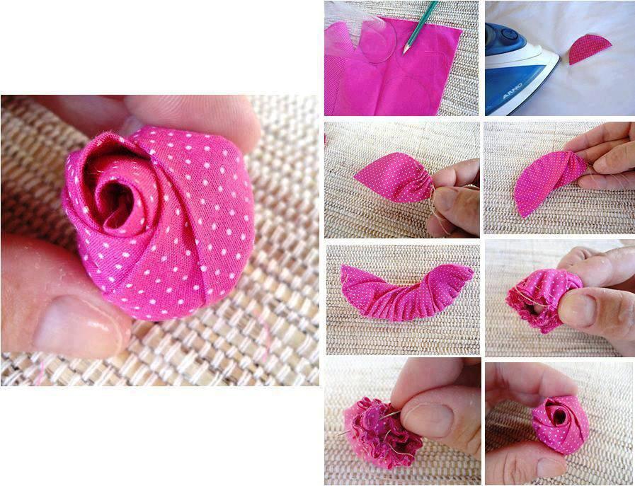 Paso a paso para hacer flor rosa de tela bisuteria coketa - Hacer bolsos de tela paso a paso ...