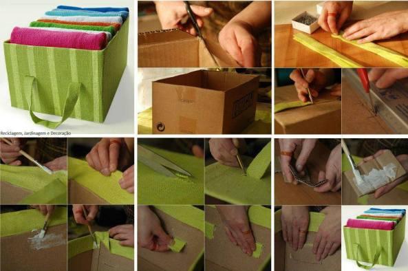 Recicla y elabora esta bella caja para guardar tus toallas.