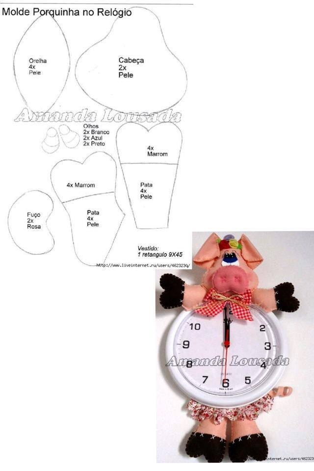 Patrón para cochinito con reloj