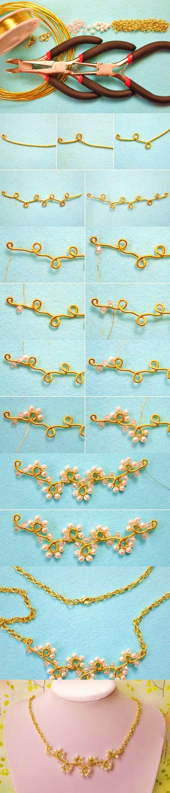 collar alambrismo bisuteria paso a paso alambre dorado diy joyeria ecuador españa mexico