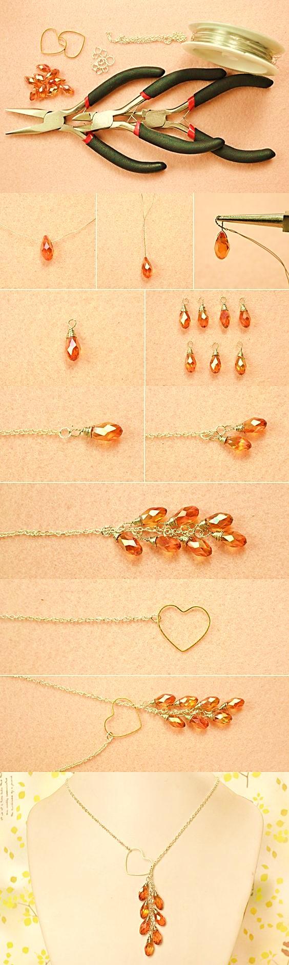 4e123fe6f7ae collar cristales ambar bisuteria paso a paso gratis joyeria joyas tutorial