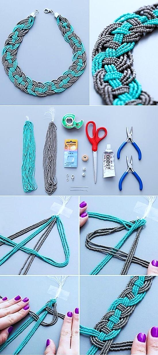 collar mostacilla como hacer un collar tejido bisuteria paso a paso gratis