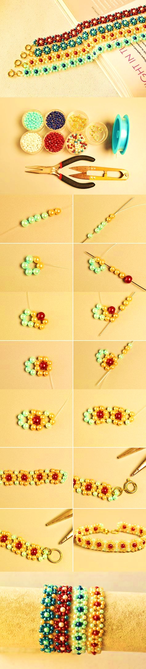 manillas con mullo brazalete mostacilla beads diy bisuteria paso a paso gratis tutorial