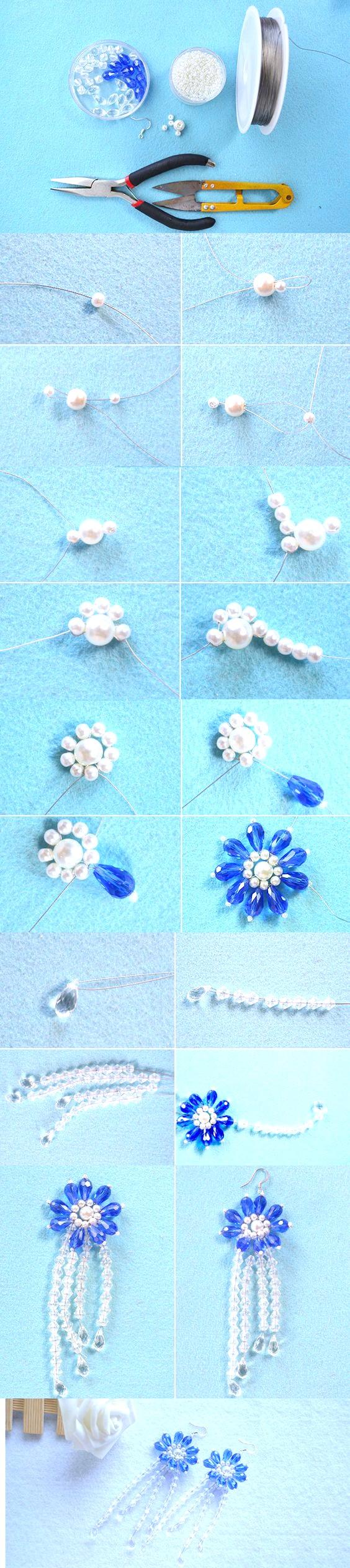pendientes cristal azul y perlas