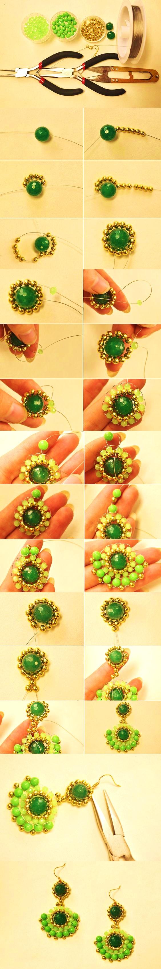 zarcillos pendientes aretes verdes bisuteria paso a paso gratis como se hacer diy