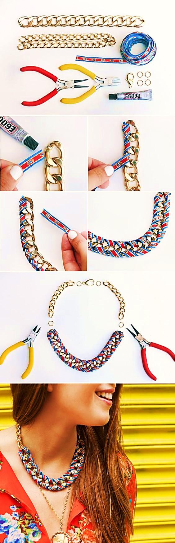 collar cadena cinta paso a paso bisuteria
