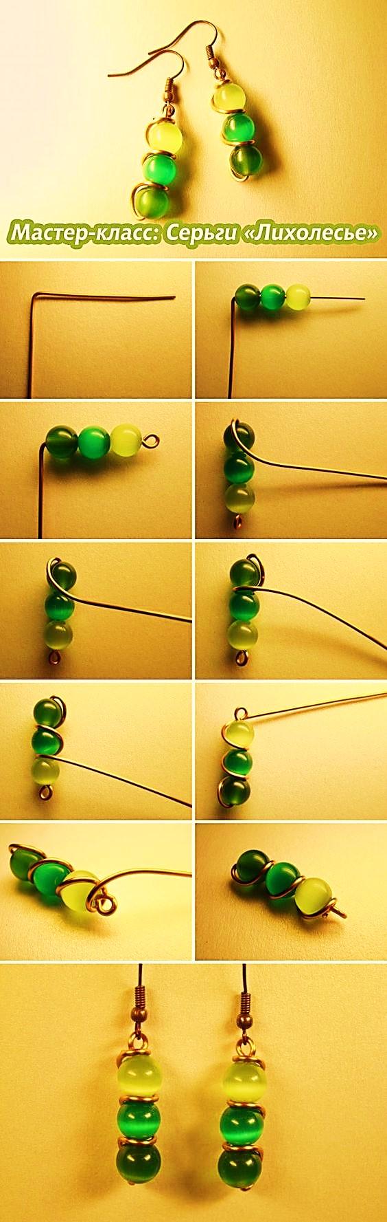 pendientes  verdes BISUTERIA como se hace