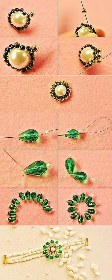 pulsera brazalete manilla mostacilla y cristales bisuteria paso a paso gratis diy