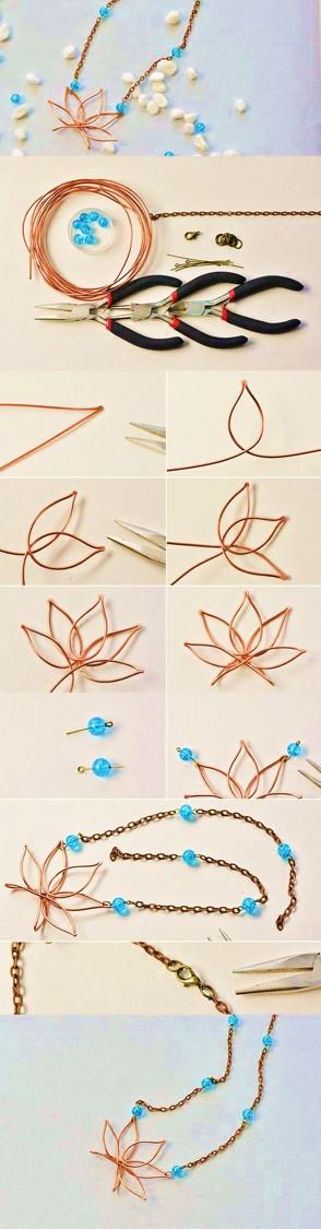 collar hojas alambre bisuteria alambrismo
