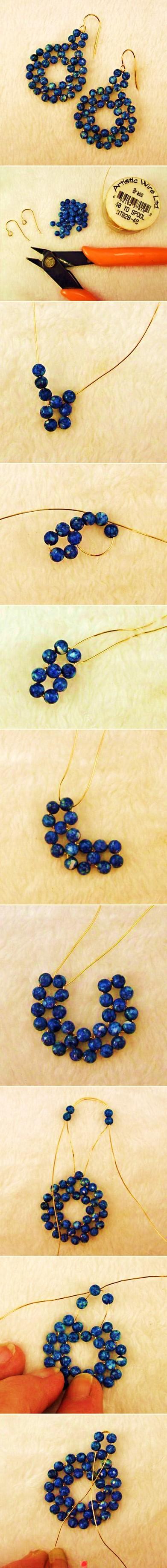 arete pendiente zarcillo perla azul diy como se hace bisuteria