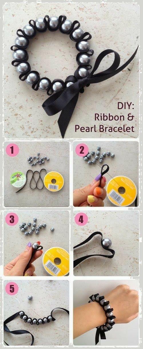 8e3c8b0a2391 Bisuteria PASO A PASO. Cómo hacer una pulsera con cinta y perlas ...